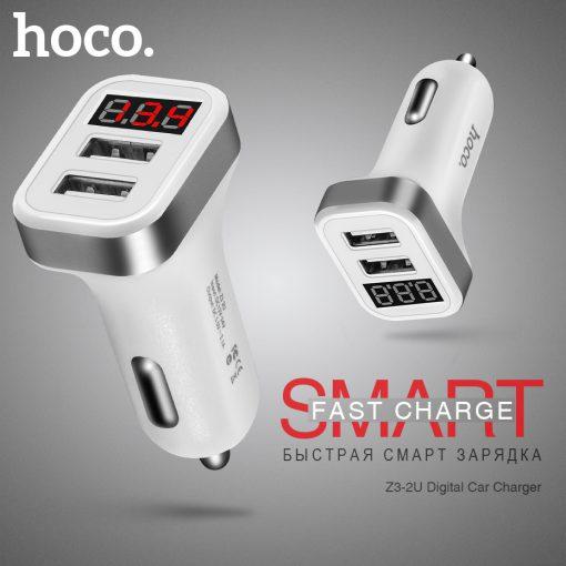 Автомобильное зарядное устройство HOCO Z3 2USB Digital Display 2.1A-3